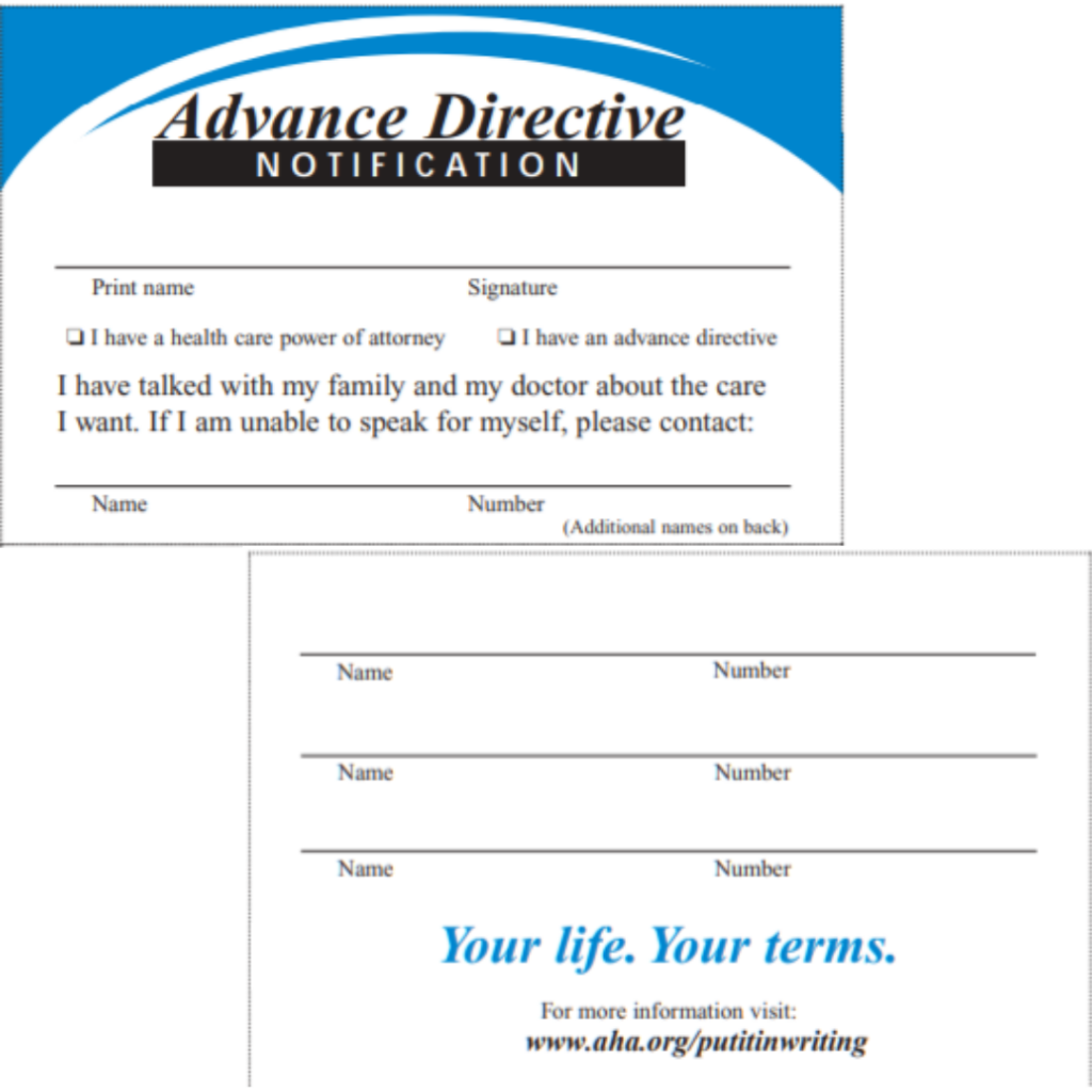 Advance Directive Card